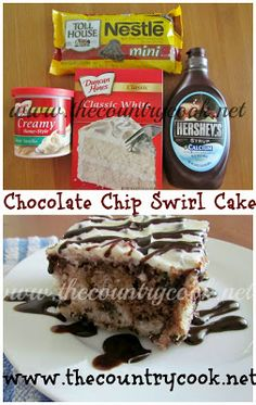 Chocolate Chip Swirl Cake.  Another one of those wonderful easy cake recipes from the Country Cook!!  I love these!!!!
