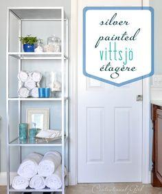 Create a DIY silver painted VITTSJO shelving for the bathroom like our IKEA fan on Centsational Girl Blog!