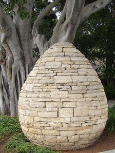Stone egg sculpture