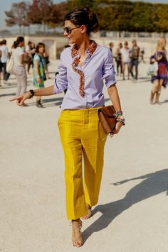 Giovanna Battaglia in light blue + yellow