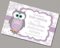 Owl Baby Shower Invitations Girl Digital Purple and Gray