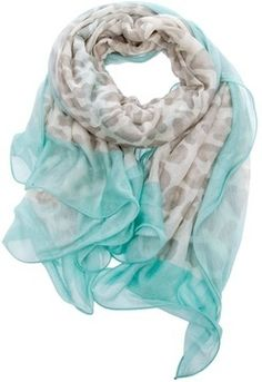 Turquoise and leopard print scarf