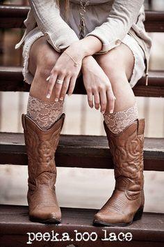 diy cut off the bottom of old legging to create cute lace calf socks