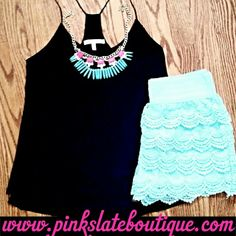 """Simplicity Tank"" ""Glo  Tell"" necklace ""Lace  Frill"" shorts www.pinkslateboutique.com Follow us on IG: pinkslateboutique"
