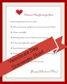 Valentine's Day scavenger hunt + more ideas for learning about love for kids!