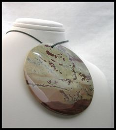 Extra Large Organic Focal Bead Made From Chinese Dendritic Jasper