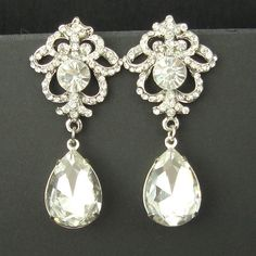 Crystal Bridal Earrings Rhinestone Vintage Bridal by luxedeluxe, $75.00