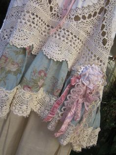 vintage crochet and linen tunic Vintage by sistersroseandruby