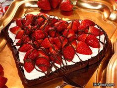 I'm going to attempt this.... Sweetheart Brownie - Nothing will thrill your sweetie more than this homemade heart-shaped brownie covered in a rich 'n' creamy topping and finished with fresh strawberries and a chocolate drizzle.