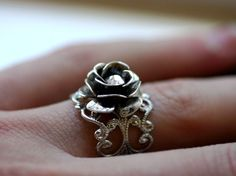Silver Rose Ring  Victorian Ring  Adjustable by robinhoodcouture, $28.00
