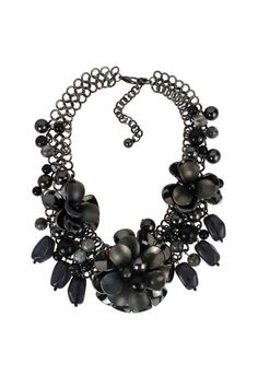 Exaggerated Black Flowers Necklace    $14.99 #romwe