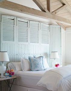 shutters upcycled as headboards