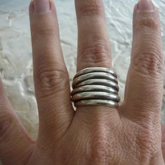 Sterling silver wire wrapped chunky organic oxidized ring..