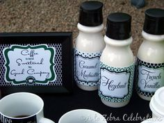 so smart, removing the labels from the creamer bottles makes them easy to coordinate with just about any decor!!