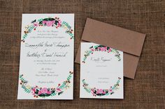 Floral Painted Wedding Invitation by SKCouch on Etsy