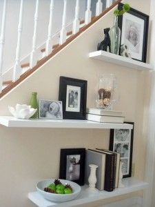 I could do this below my stairs but I feel like all the stuff would fall off the way I run up and down them a million times a day! decor, living rooms, idea, floating shelves, float shelv, shelf styling, black white, under stairs, hous