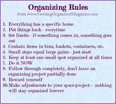 All 10 Organizing Rules from Getting Organized Magazine
