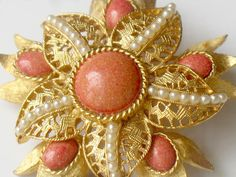 1950s Vintage Brooch Faux Pearl And Pink Filigree Flower by JewelryQuestDesign, $21.99