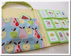 kids shopping book and food cards