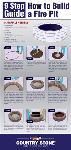 9 Step Guide on How to Build a Fire Pit #firepit #summer #diy #summerfun #outdoor #outdoorfun #firering #infographic