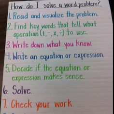 anchors, anchor charts, solv word, problem anchor, everyday math, word problems