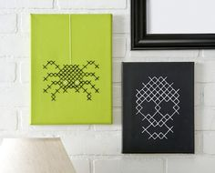 halloween decorations, craft, crossstitch, wall decorations, punto de cruz, crosses, cross stitches, painted canvas, canvases