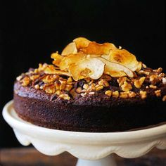 Gorgeously elegant and oh-so-perfect for Thanksgiving dessert: Chocolate-Pear Spice Cake.