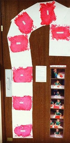 """A KinderCare teacher recently helped a class of younger students create a class """"candy cane."""" Each student finger painted their own page and the teacher created their own door decoration for Christmas. This is perfect for an older infant, toddler, and preschool projects."""
