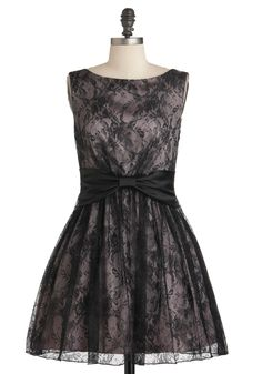 Shimmer and Shade Dress - Pink, Black, Print, Bows, Lace, Party, A-line, Sleeveless, Prom, Vintage Inspired, 50s, Holiday Party, Cocktail, Boat, Fit & Flare #modcloth #partydress