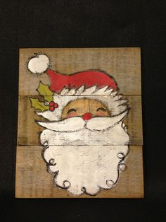 Santa Sign hand painted on reclaimed wood by TheUrbanPost on Etsy $22.