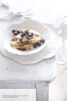 Buttermilk pancakes with blueberries and spiced maple butter