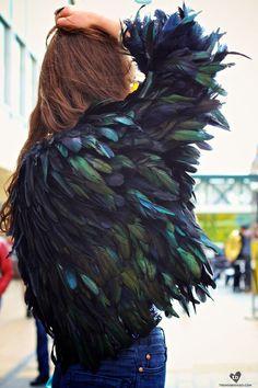fashion, feather jacket, street styles, jackets, inspir, feathers, birds, black, coats