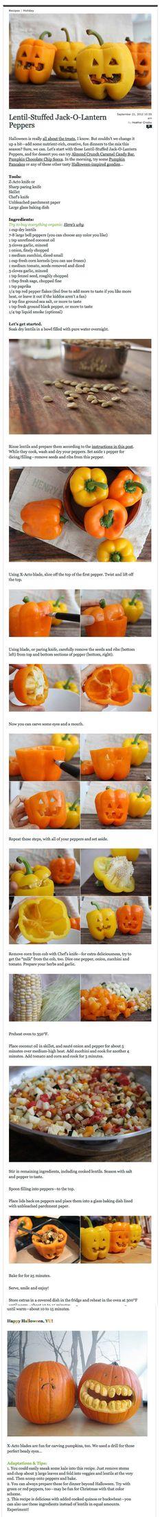 Stuffed Jack-O-Lantern Peppers. Happy Halloween!