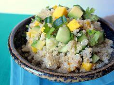 Spicy peanut mango quinoa salad