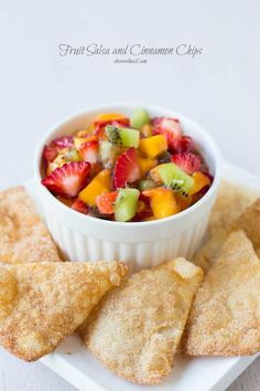 Easy fruit salsa and cinnamon chips