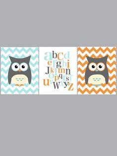 Owl and ABC nursery art - set of three - blue gray orange - digital print - 8x10 on A4. €33.00, via Etsy.