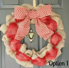 Red Chevron Burlap Christmas Wreath