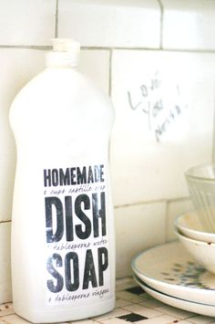 DIY Dish soap: 2c. castile soap, 6tbsp. water, 2tbsp. vinegar or lemon juice.