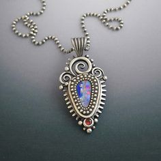 Sterling Silver Elegant Necklace Pendant with by LizardsJewelry, $335.00