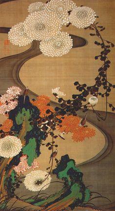 Birds And Chrysanthemums By A Stream--Ito   Jakuchu (1716-1800)