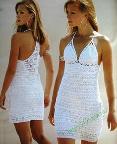 White Racerback Dress free crochet graph pattern