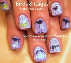 Nail-art by Robin Moses Blue Birds for Baby Shower tutorial here: http://www.youtube.com/watch?v=jnL5JQFMukQ