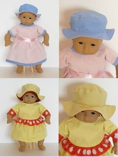Bitty Baby doll clothes sewing patterns to download - 2+2 DRESS & HAT