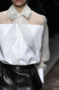 Transparency - sheer white shirt with opaque panels & delicate soft bow at the collar; fashion details // Valentino Valentino Fall, Blouses, Fashion Work, Fashion Details, Romantic Wedding, White Shirts, Fall 2012, Leather Pants, Fall Wedding