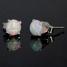 Gorgeous Fiery White Opal Earrings $29