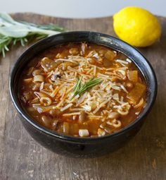 "Italian peasant soup that translates to ""pasta and beans."" It's..."