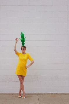 Last minute halloween costume diy - Pineapple! DIY