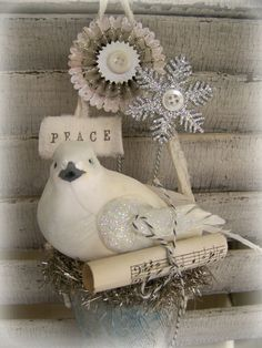 Handmade Winter White Christmas Vintage Christmas Bird by QueenBe