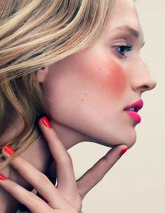 hair colors, lip, color combos, makeup, facial red, beauty, beauti guid, bold colors, blush