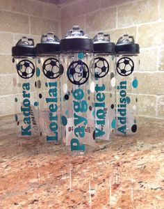 Personalized Soccer Bottles Team gifts by AtoZVinylCreations, $13.00
